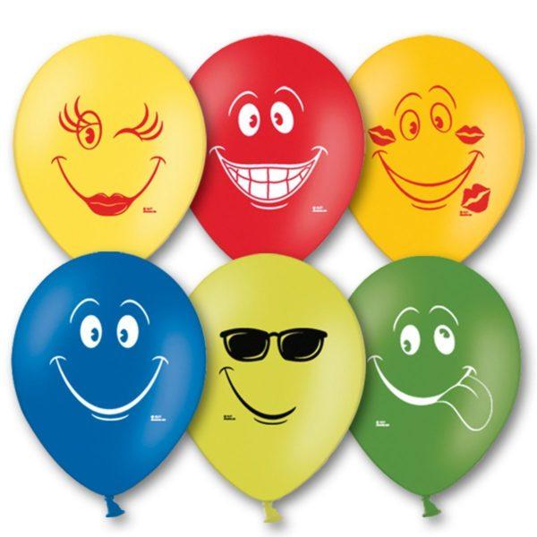 Латексные шарики с рисунком улыбок