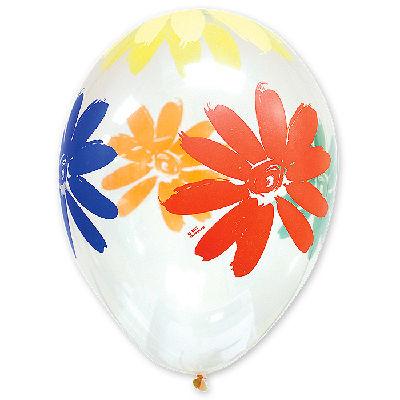 Латексные шарики с рисунком прозрачный Ромашка