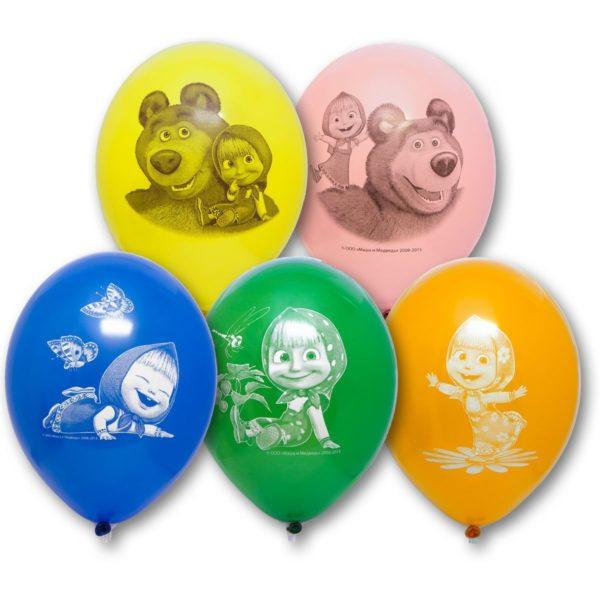 Латексные шарики с рисунком Маша и медведь