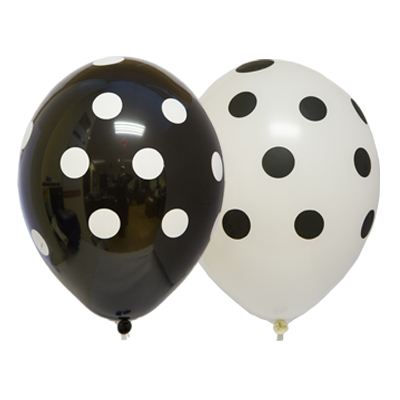 Латексные шарики с рисунком Черно белого гороха