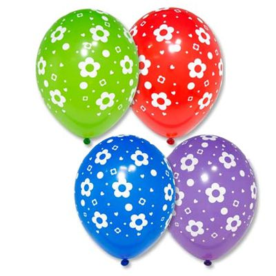 Латексные шарики с рисунком Ромашки
