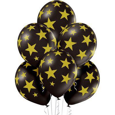Черные воздушные шары Belbal с нарисованным золотистыми звездами