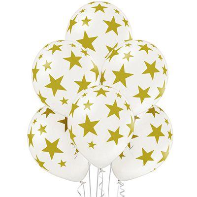 Латексные шарики с рисунком Звезды белые и черные