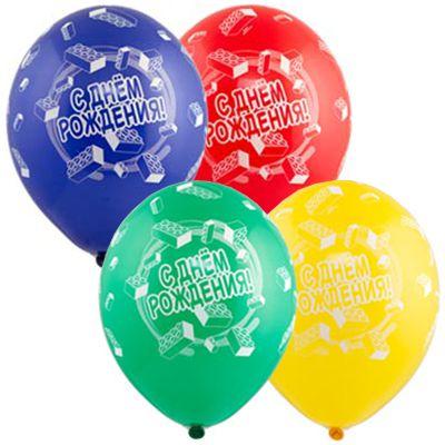 """Латексные шарики с надписью """"С днем рождения! Конструктор"""""""