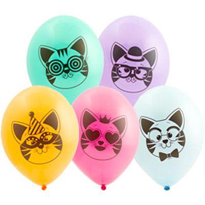 Латексные шарики с рисунком Котики