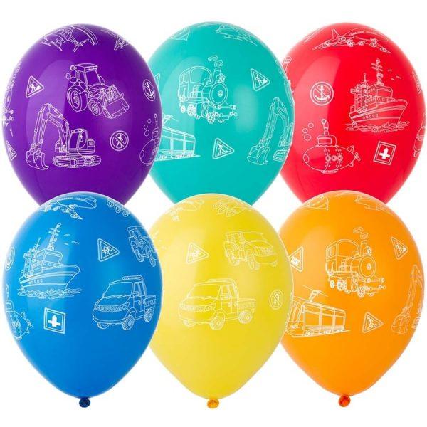Латексные шары круглые с рисунком виды транспорта