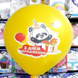 Натуральный латексный шар с рисунком панды. Односторонняя печать в пять цветов. Диаметр - 34 см.