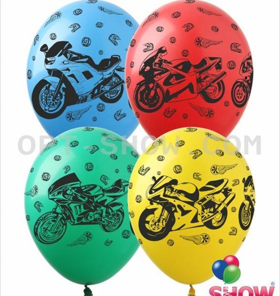 Латексные шарики с рисунком Мотоциклы