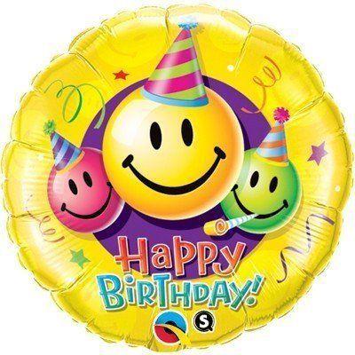 Фольгированный шарик с Днем рождения Смайлики.