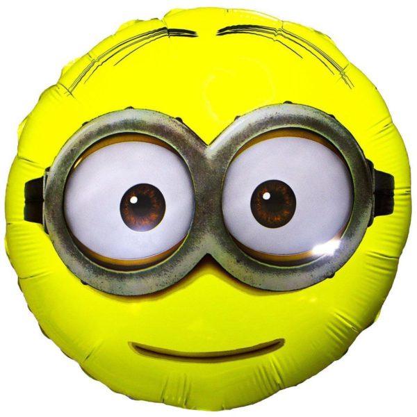 Фольгированный шарик с рисунком миньончик. Размер 45 см.