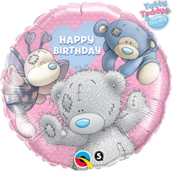 Фольгированный шарик с Днем рождения Мишка Тедди.