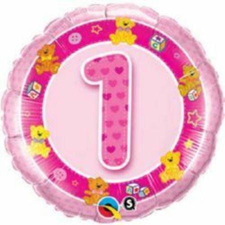 Фольгированный шарик с Днем рождения розовая единичка.