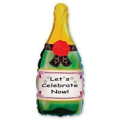 Фольгированный шар фигура шампанское. Размер 83х43 см
