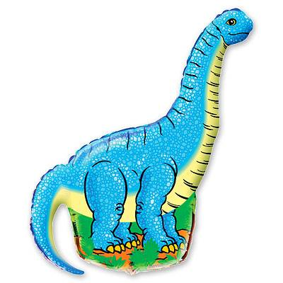 Фольгированный шар фигура динозавр голубой. Размер 110х66 см