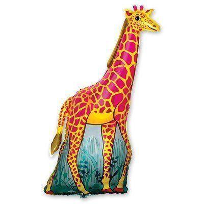 Фольгированный шар фигура жираф оранжевый. Размер 120х66 см