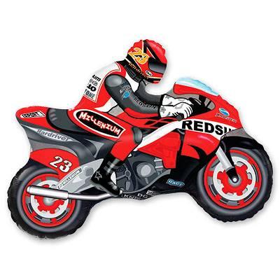 Фольгированный шар фигура гоночный мотоцикл. Размер 70х84 см