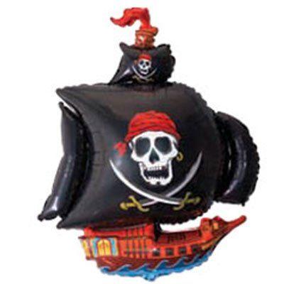 Фольгированный шар фигура пиратский корабль. Размер 78х105 см