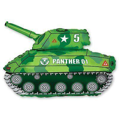 Фольгированный шар фигура танк. Размер 65х80 см