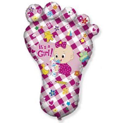 Фольгированный шар фигура стопа девочки розовая. Размер 96х67 см