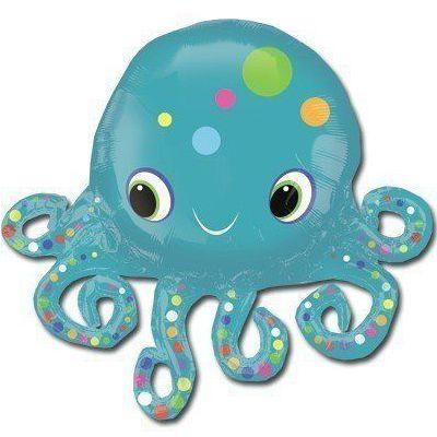 Фольгированный шар фигура осьминог. Размер 100х90 см