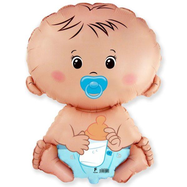 Фольгированный шар фигура малыш мальчик. Размер 67х46 см