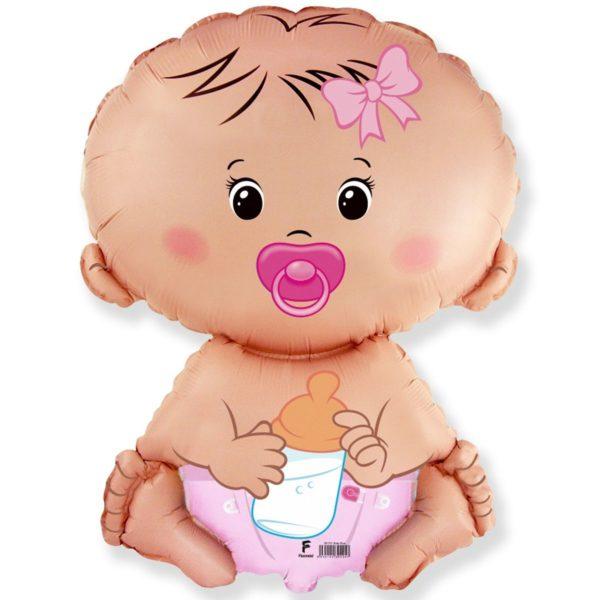 Фольгированный шар фигура малышка девочка. Размер 67х46 см