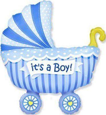 Фольгированный шар фигура коляска для мальчика. Размер 89х74 см