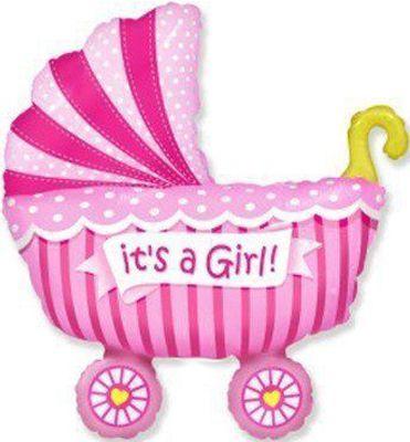 Фольгированный шар фигура коляска для девочки. Размер 89х74 см