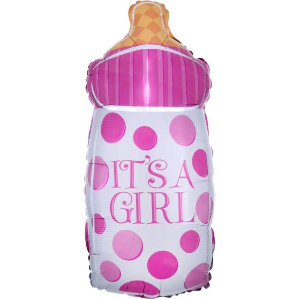 Фольгированный шар фигура бутылка розовая. Размер 25х58 см