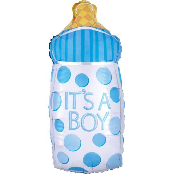 Фольгированный шар фигура бутылка голубая. Размер 25х58 см