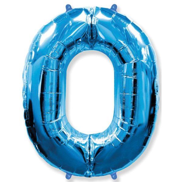 Фольгированный шар форме синей цифры один. Размер 1 метр.