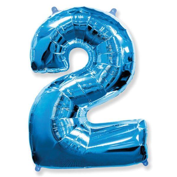 Фольгированный шар форме синей цифры два. Размер 1 метр.