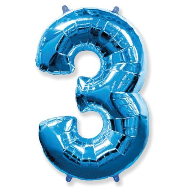 Фольгированный шар форме синей цифры три. Размер 1 метр.