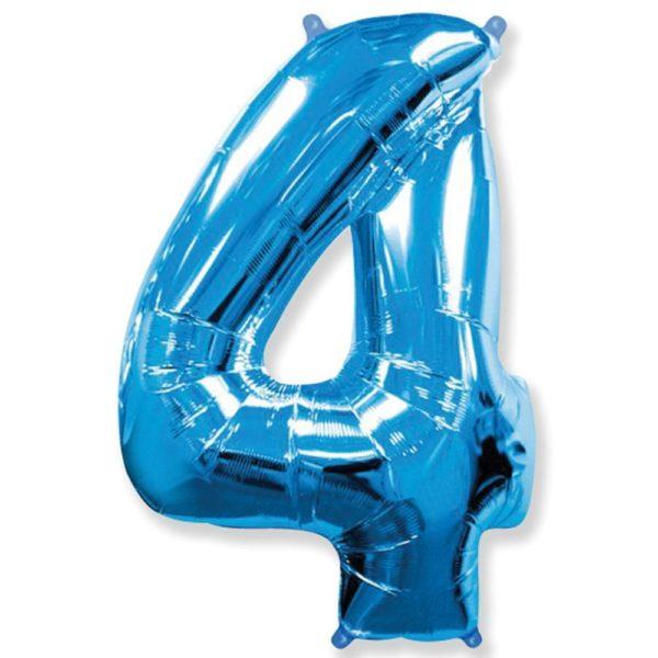 Фольгированный шар форме синей цифры четыре. Размер 1 метр.