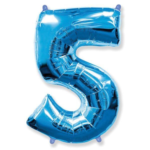 Фольгированный шар форме синей цифры пять. Размер 1 метр.