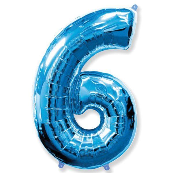 Фольгированный шар форме синей цифры шесть. Размер 1 метр.