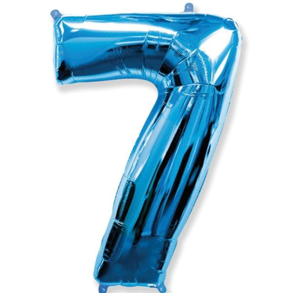 Фольгированный шар форме синей цифры семь. Размер 1 метр.