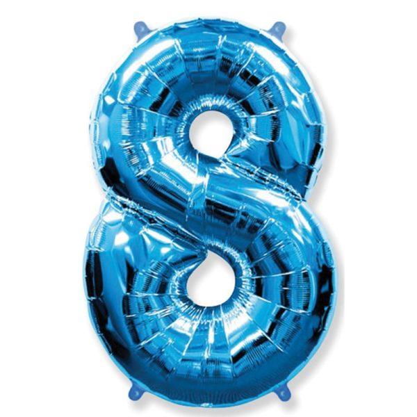 Фольгированный шар форме синей цифры восемь. Размер 1 метр.