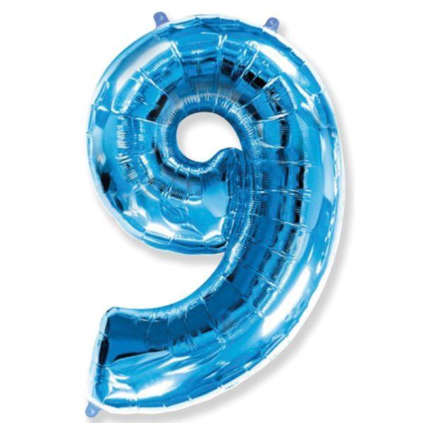Фольгированный шар форме синей цифры девять. Размер 1 метр.