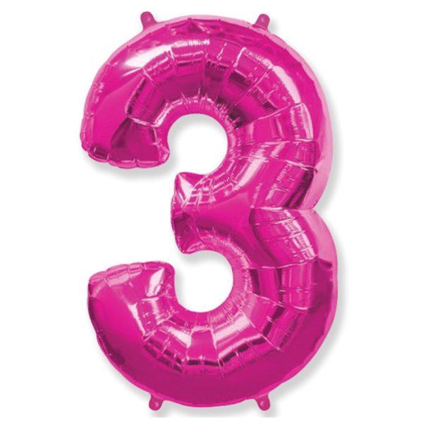 Фольгированный шар форме малиновой цифры три. Размер 1 метр.