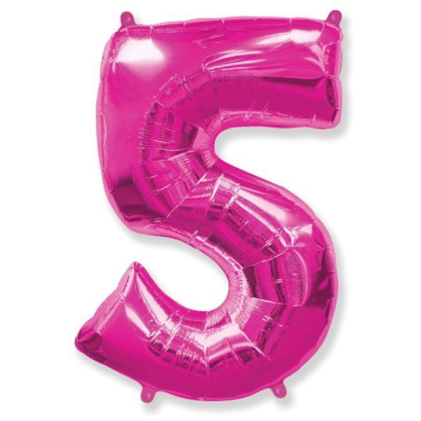 Фольгированный шар форме малиновой цифры пять. Размер 1 метр.