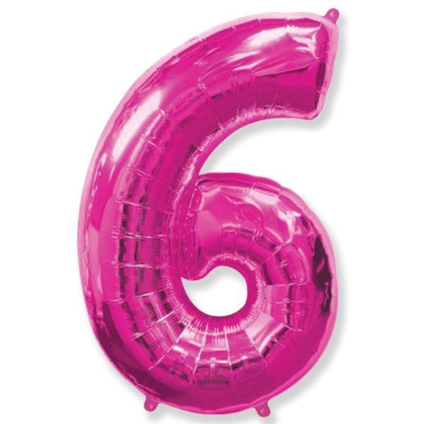 Фольгированный шар форме малиновой цифры шесть. Размер 1 метр.