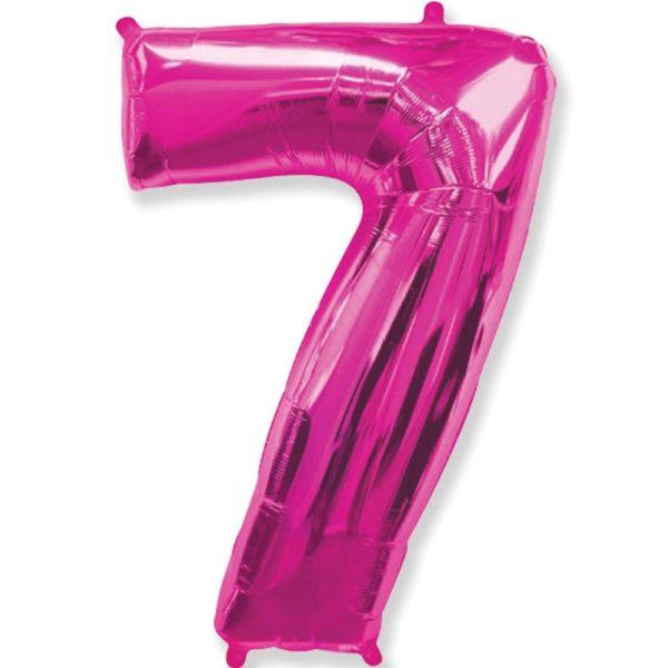 Фольгированный шар форме малиновой цифры семь. Размер 1 метр.