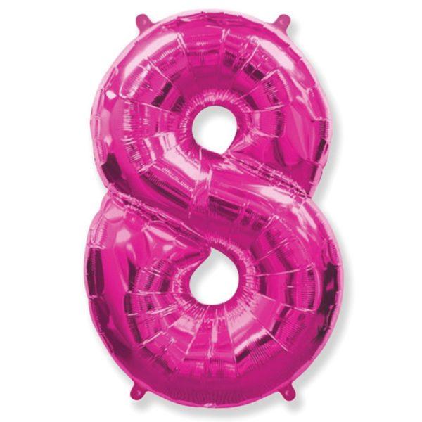Фольгированный шар форме малиновой цифры восемь. Размер 1 метр.