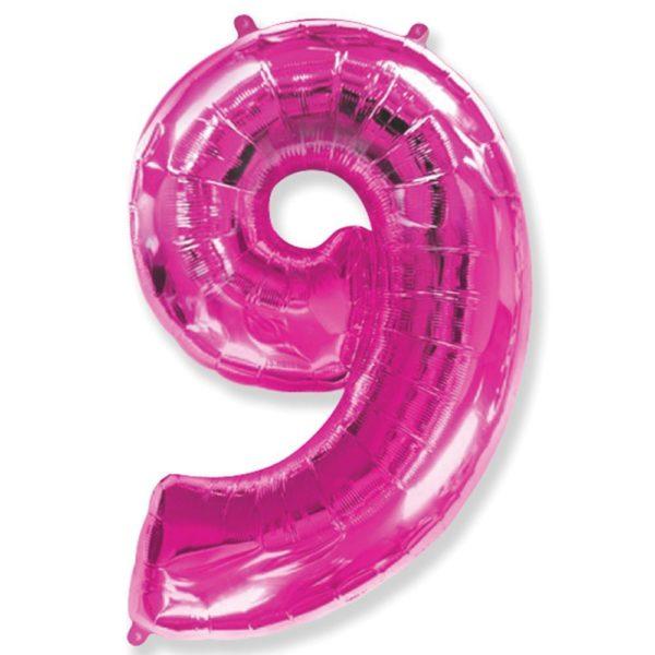 Фольгированный шар форме малиновой цифры девять. Размер 1 метр.