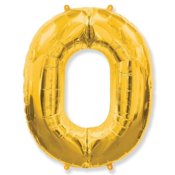 Фольгированный шар форме золотой цифры ноль. Размер 1 метр.