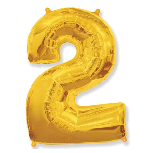 Фольгированный шар форме золотой цифры два. Размер 1 метр.