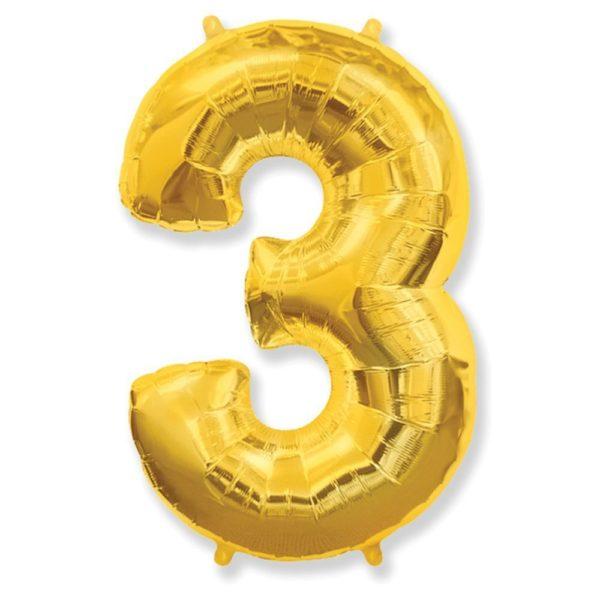 Фольгированный шар форме золотой цифры три. Размер 1 метр.