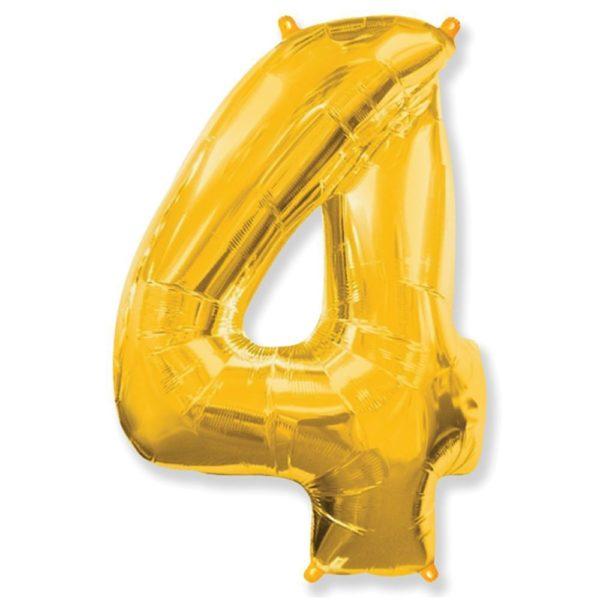 Фольгированный шар форме золотой цифры четыре. Размер 1 метр.