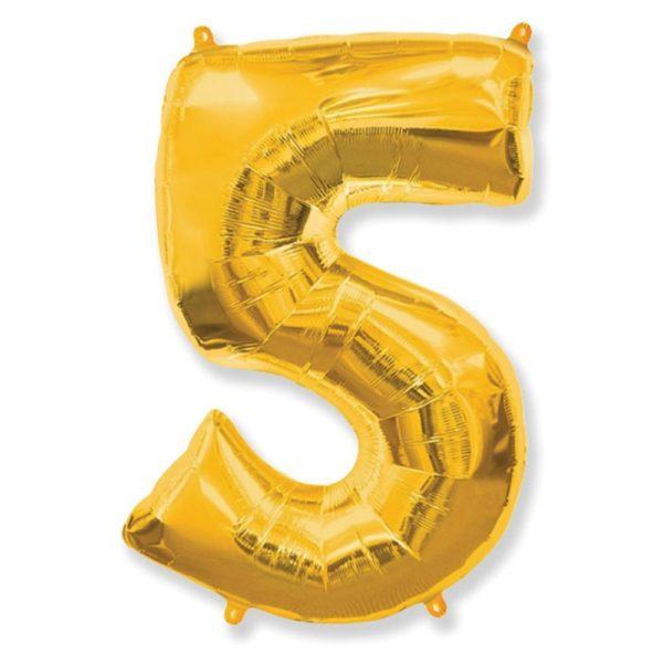 Фольгированный шар форме золотой цифры пять. Размер 1 метр.